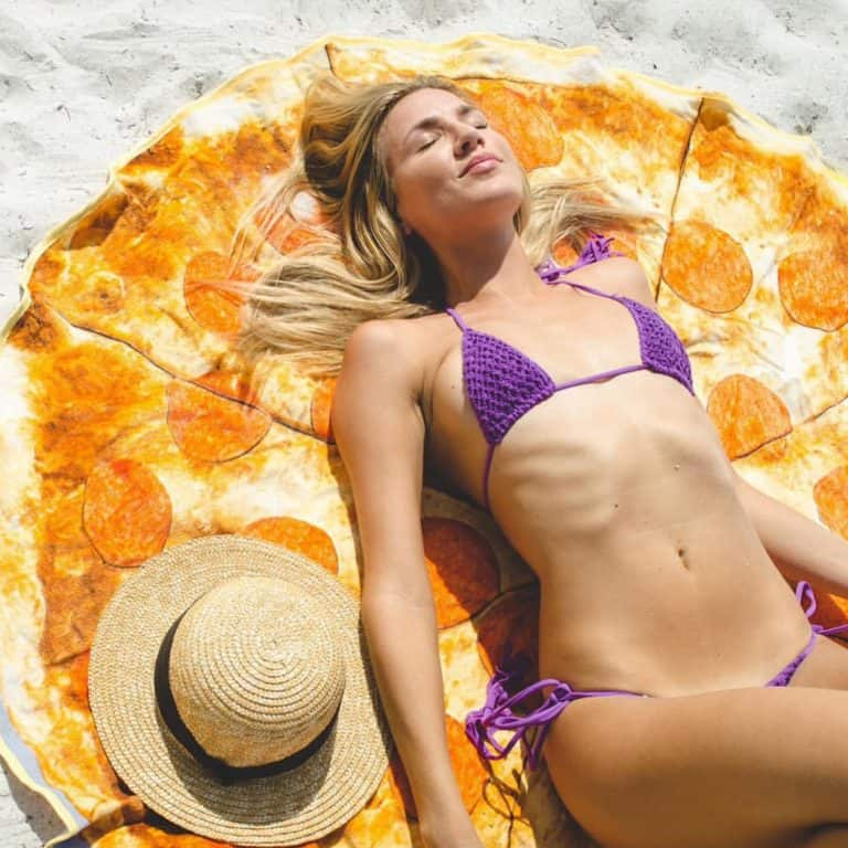 Round Towel Co Pepperoni Pizza Beach Towel Coll Summer Gift Idea