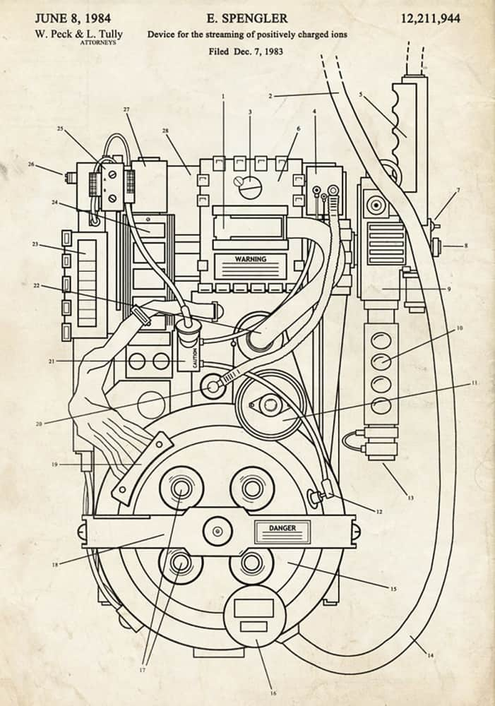 The Patent Office Ghostbusters Proton Pack Fantasy Art Patent Cool Novelty Item