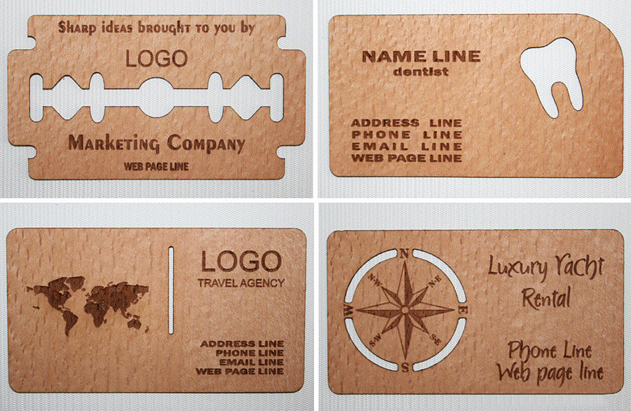 Wood Power Wooden Business Card Noveltystreet