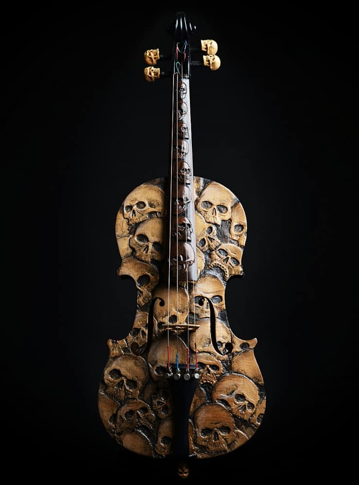 Artist In Fla Carved Skull Violin Gift for Violinist