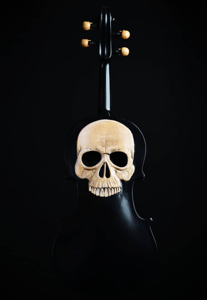 Artist In Fla Carved Skull Violin Handmade Item