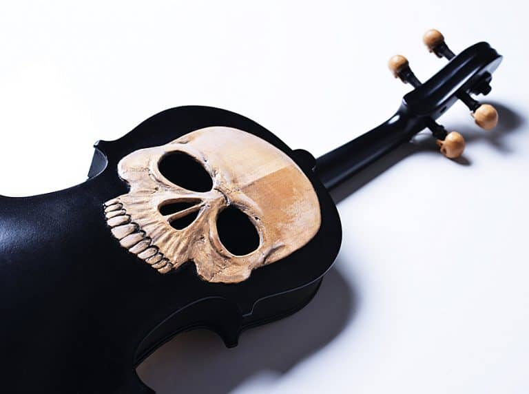 Artist In Fla Carved Skull Violin Musical Instrument
