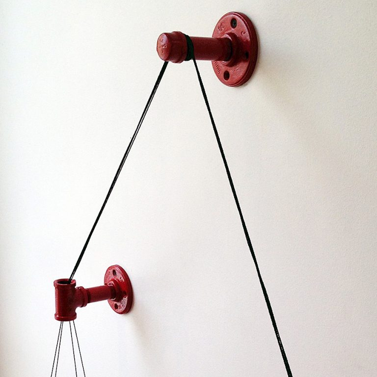 Cush Design Studio Red Balance Bookshelf Made from Steel Pipe Fittings