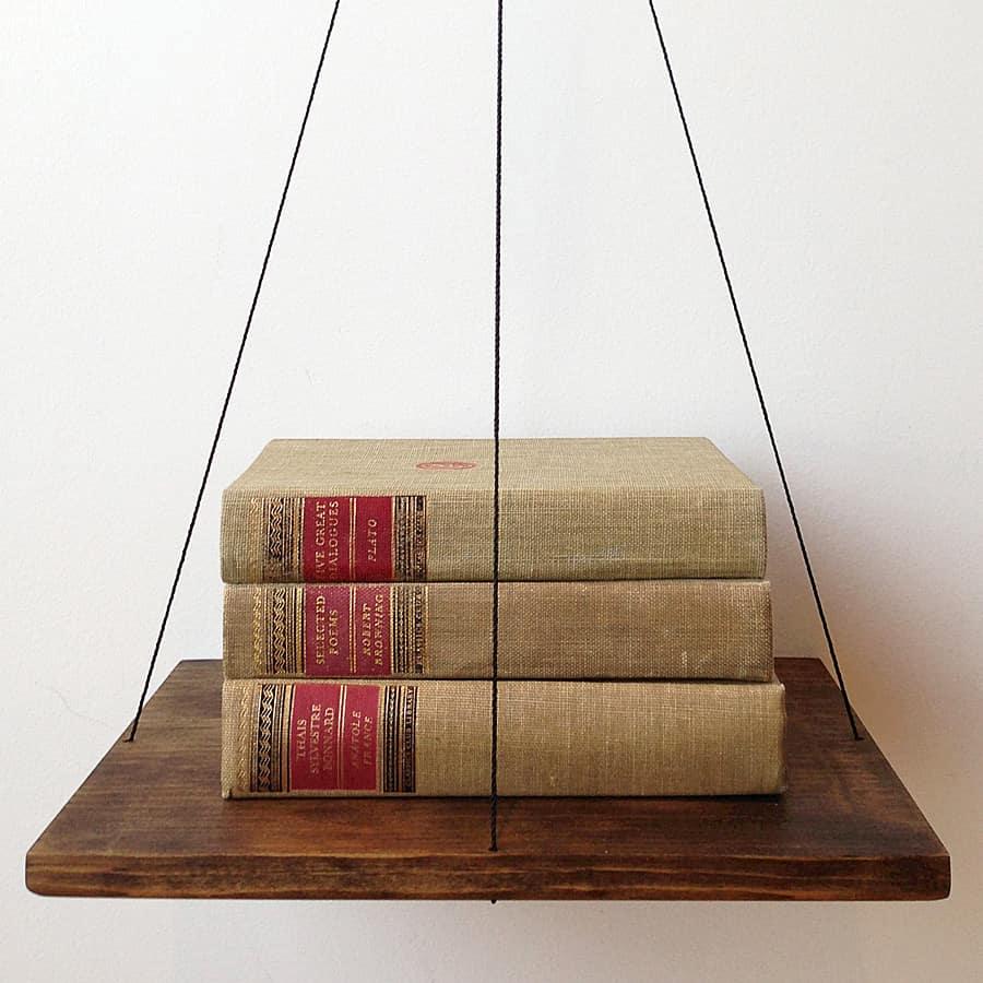 Cush Design Studio Red Balance Bookshelf Wall Mounted Bookshelf
