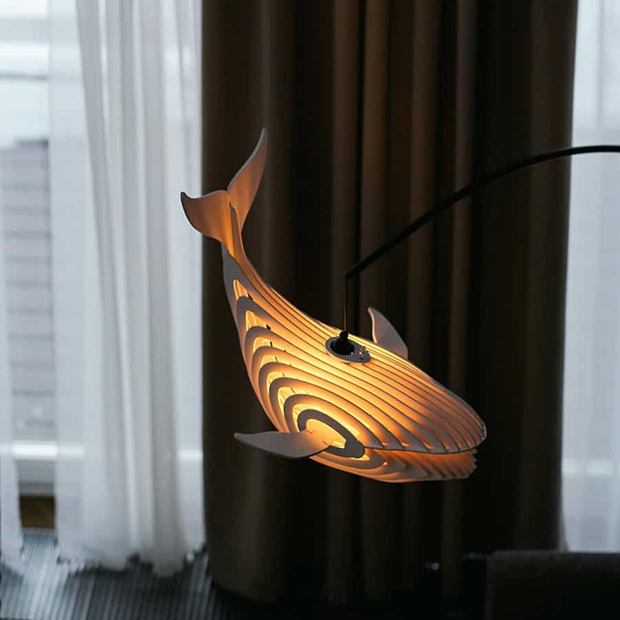 ESSE Boutique Wooden Whale Lamp Made from Wood Birch
