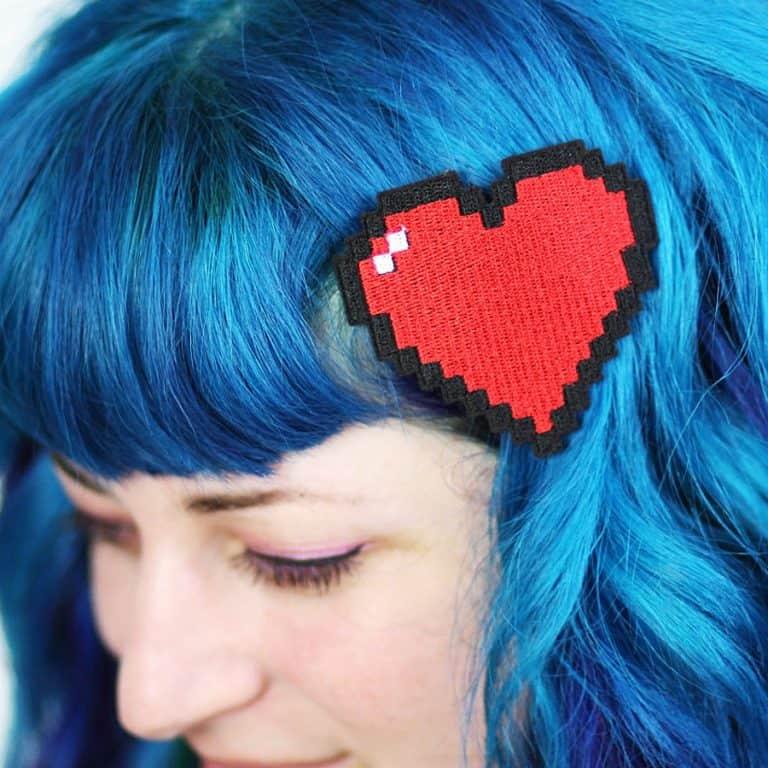 Janine Basil Pixel Heart Hair Clip Retro Gaming Barrette