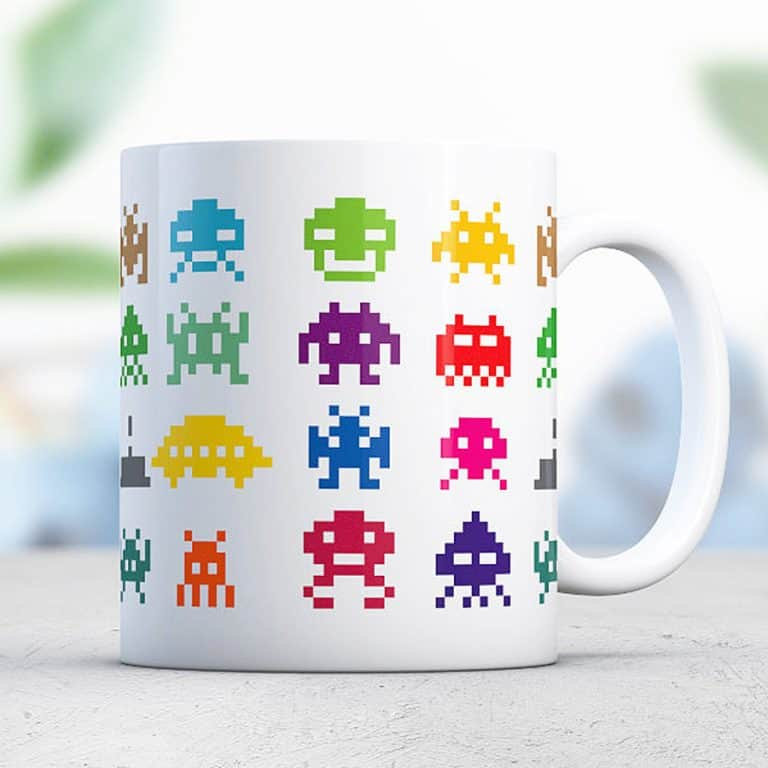 Love Alice Mugs Space Invader Mug Great Pixel Designed Coffee Cup