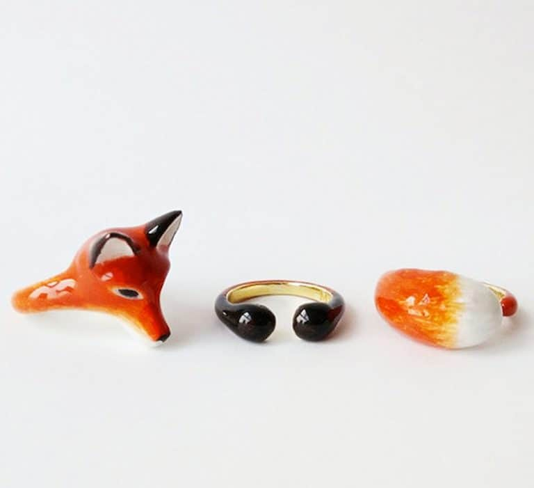 Mary Lou Bangkok Orange Fox 3 Piece Ring Set Cool Fashionable Rings