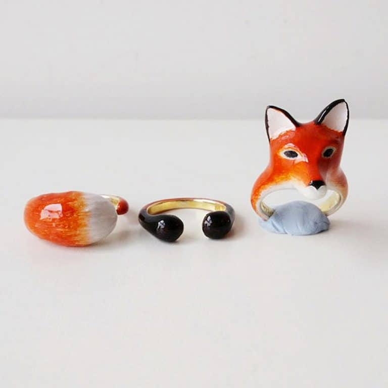 Mary Lou Bangkok Orange Fox 3 Piece Ring Set Jewelry