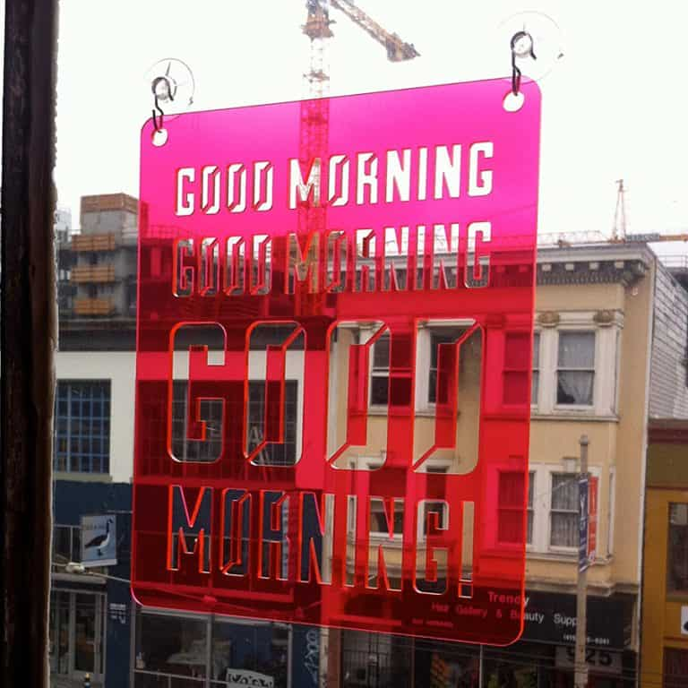 Moonish Goods Good Morning Typographic Sun Catcher Great for Decorating Windows
