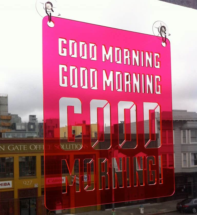 Moonish Goods Good Morning Typographic Sun Catcher Transparent Acrylic