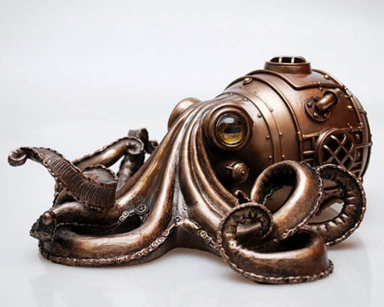 S.T.B. Art Steampunk Octopus Hand Painted Finishing