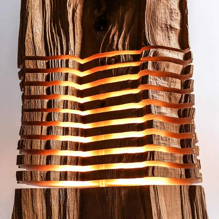 Split Grain Light Sculpture Minimal Art Made from Wood and Aluminum
