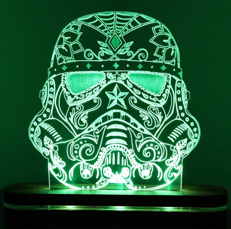Sugar Skull Stormtrooper Night Light Made with Thick Acrylic