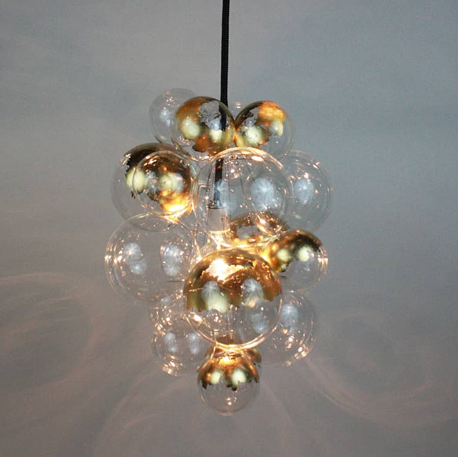 The light factory waterfall bubble chandelier noveltystreet instead of a fancy looking design you get a more playful and interesting group of bubbles hanging from the ceiling when opened the 60w g30 light bulb arubaitofo Choice Image