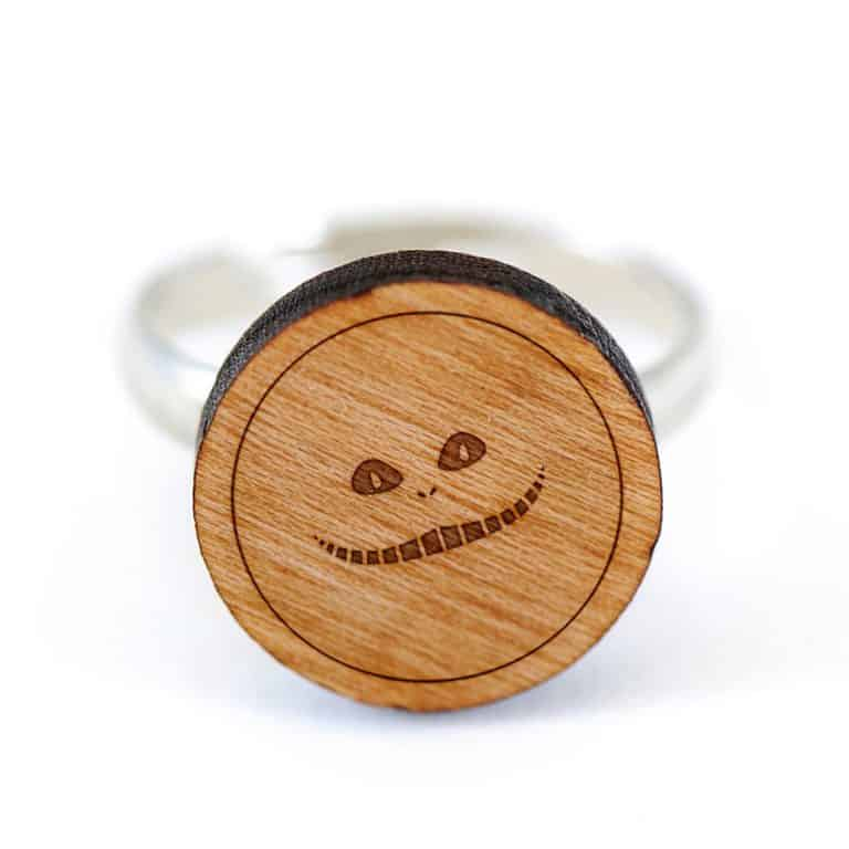 Wooden Accessories Co. Wooden Cheshire Cat Ring Cool Cat Designed Jewelry