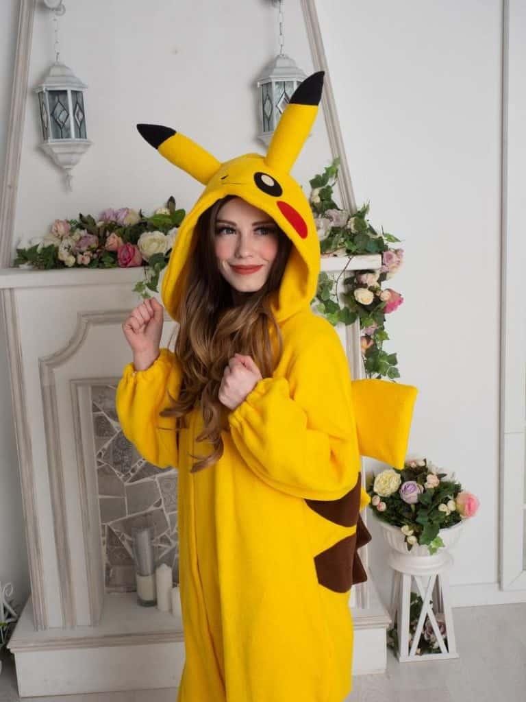 Yotsuba No Clover Pokemon Pikachu Onesie Cute Cosplay Outfit