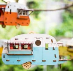Let birds enjoy the comforts of a trailer home.