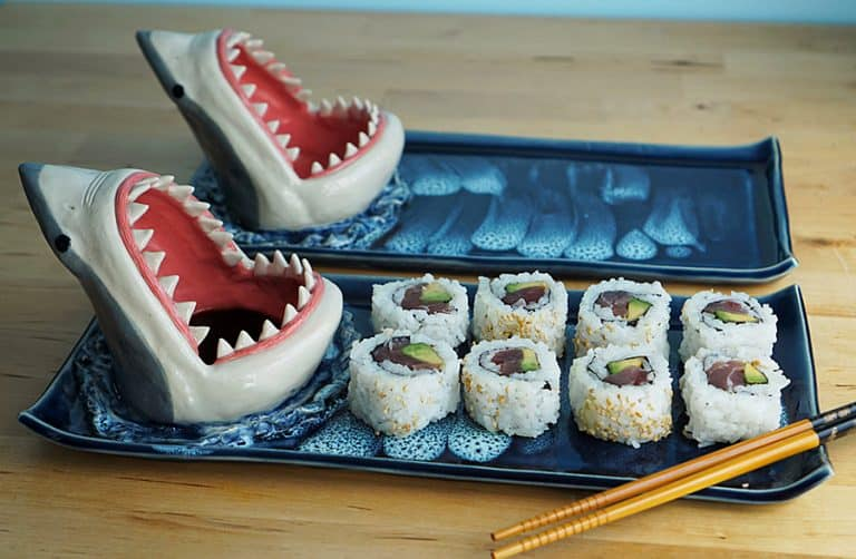 Avi Ceramics Shark Sushi Plate Novelty Item