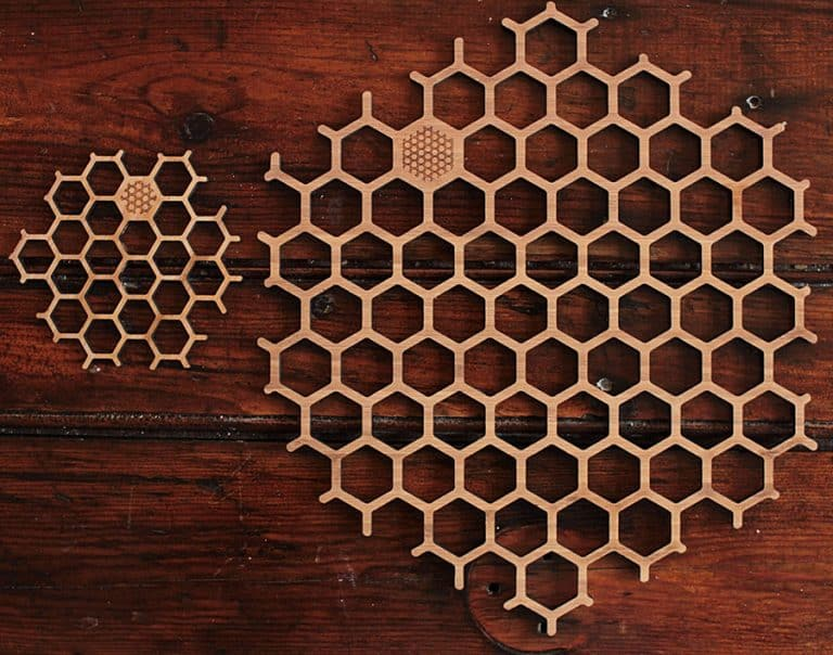 BU Bamboo Honeycomb Place Mat & Coaster Set Made from 100 Percent Bamboo