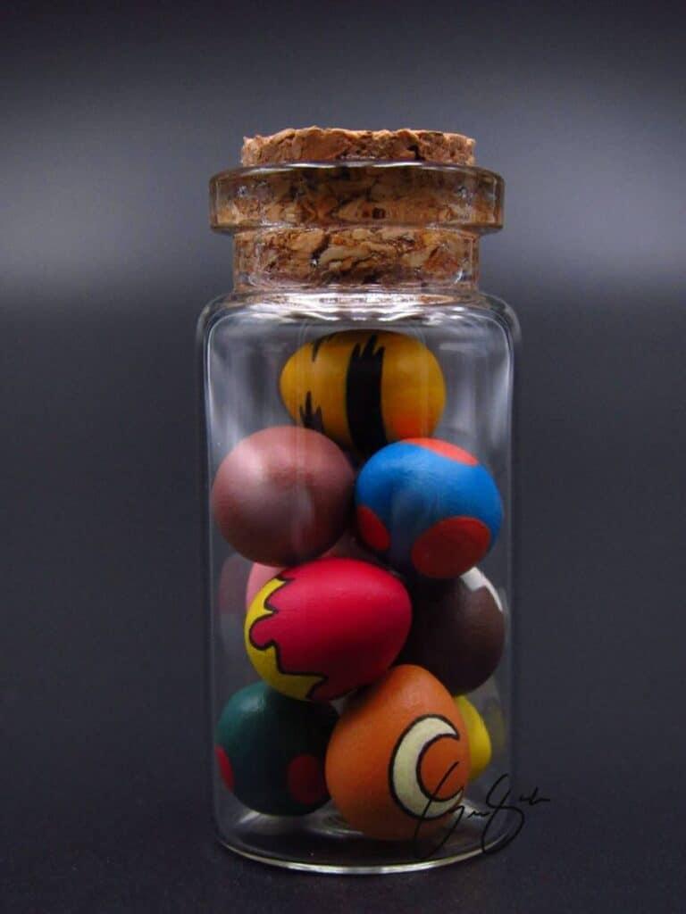 Clay Keep Little Glass Jar of Pokemon Eggs Anime Inspired Creation