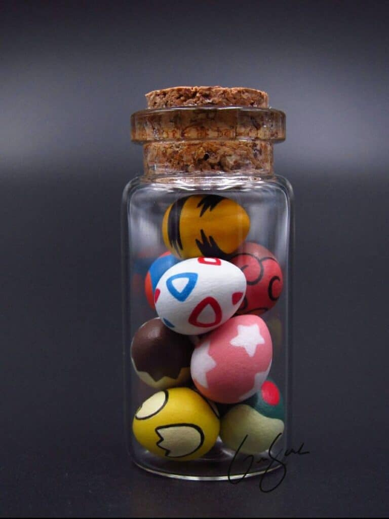 Clay Keep Little Glass Jar of Pokemon Eggs Popculture Charm