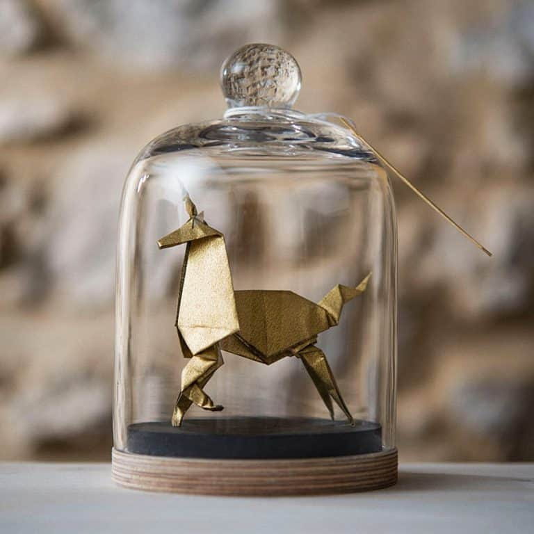 Florigami Shop Unicorn Origami Sculpture Made from Metallic Silver Paper