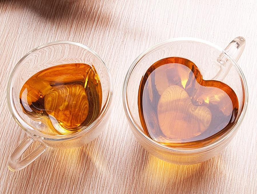 Heart Shaped Double Wall Glass Cups Eco Friendly