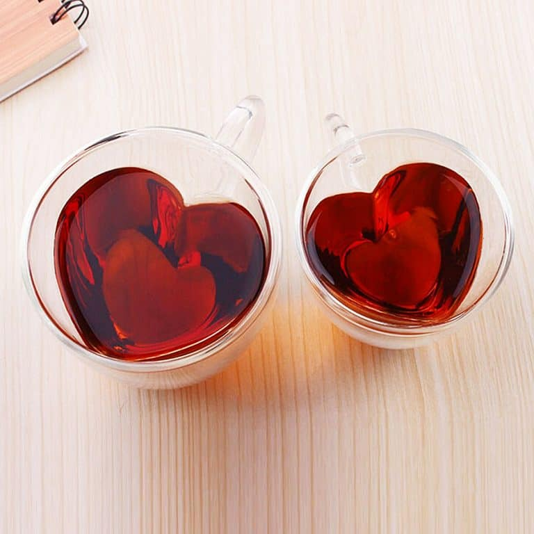 Heart Shaped Double Wall Glass Cups Novelty Item