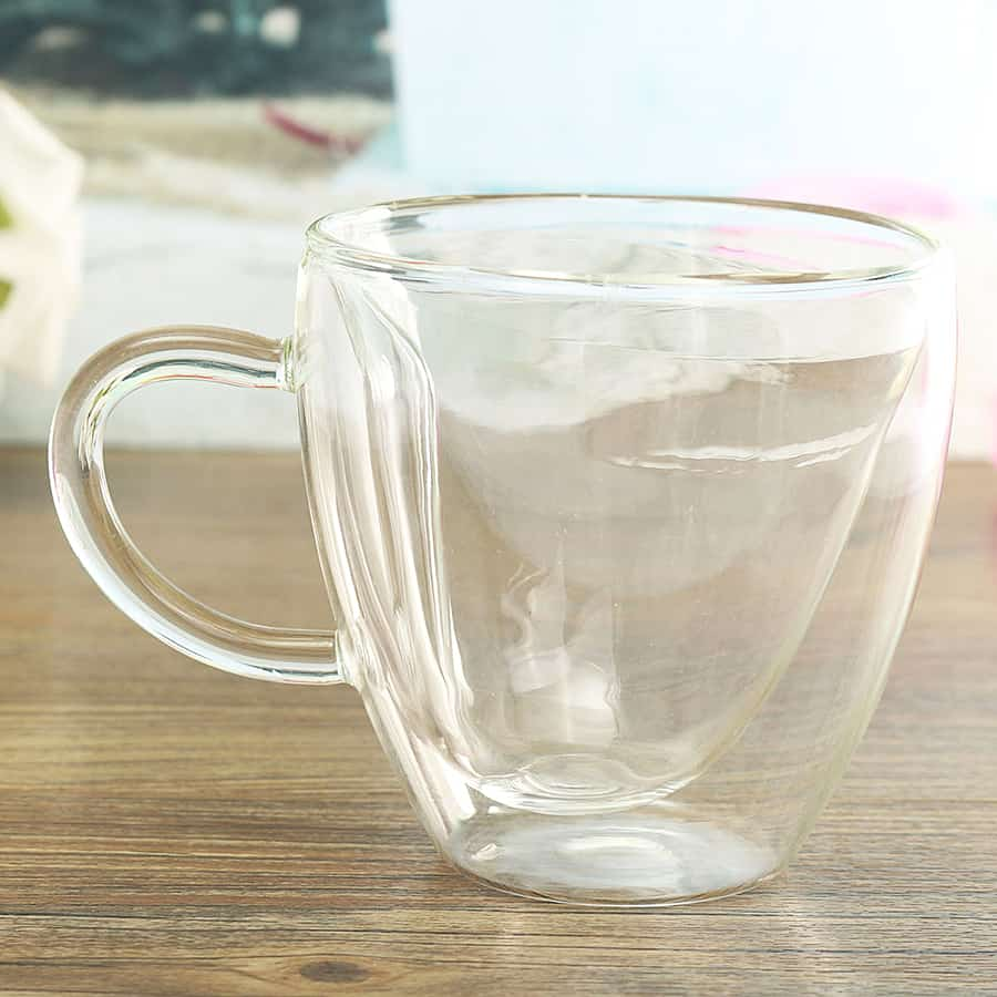 Heart Shaped Double Wall Glass Cups Tea Cup