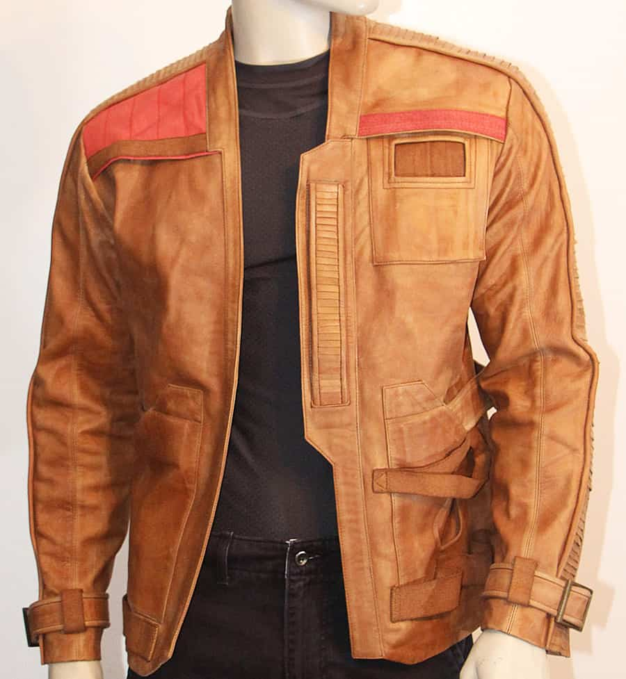 Magnoli Clothiers FinnPoe Leather Jacket Pre Distressed Tan Lambskin with Red Accents