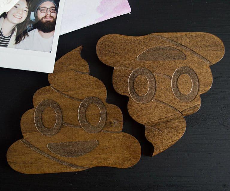Of The Town Poop Emoji Coaster Solid Poplar Wood