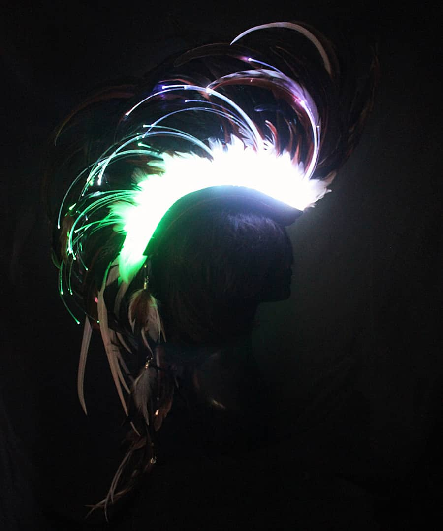 Playaborn Warrior Feather Mohawk Illuminating Headpiece