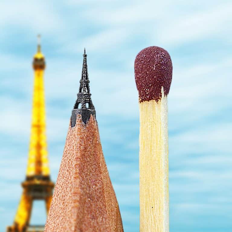 Salavat Fidai Eiffel Tower Microsculpture Carved Pencil