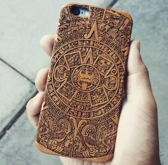 Shaken Doodle Designs Wooden Mayan Aztec Calendar iPhone Case Laser Engraved