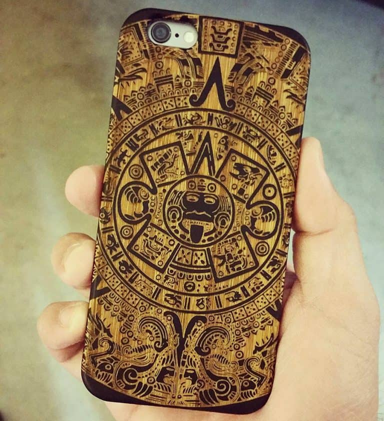 Shaken Doodle Designs Wooden Mayan Aztec Calendar iPhone Case Mobile Extra Protection