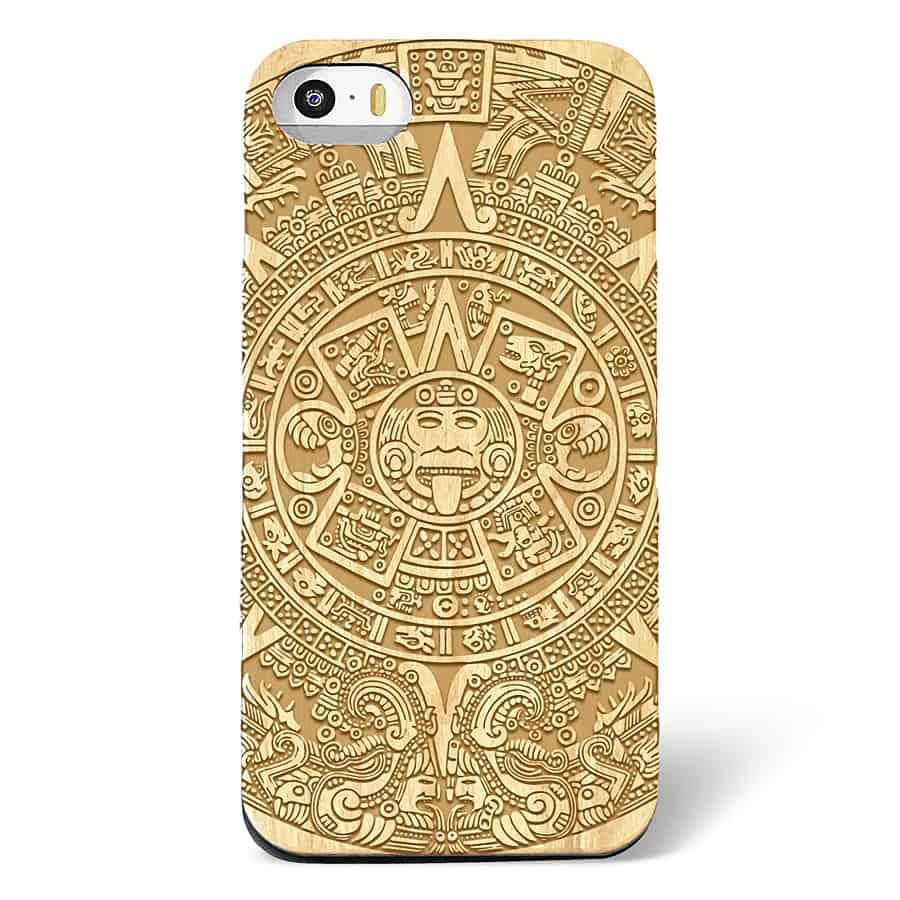 Shaken Doodle Designs Wooden Mayan Aztec Calendar iPhone Case Phone Accessory