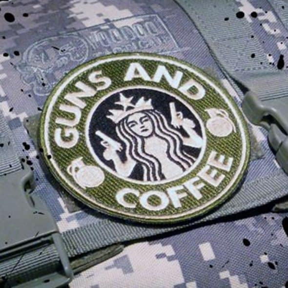 Tactical Textile Guns and Coffee Velcro Morale Military Patch Made from Nylon