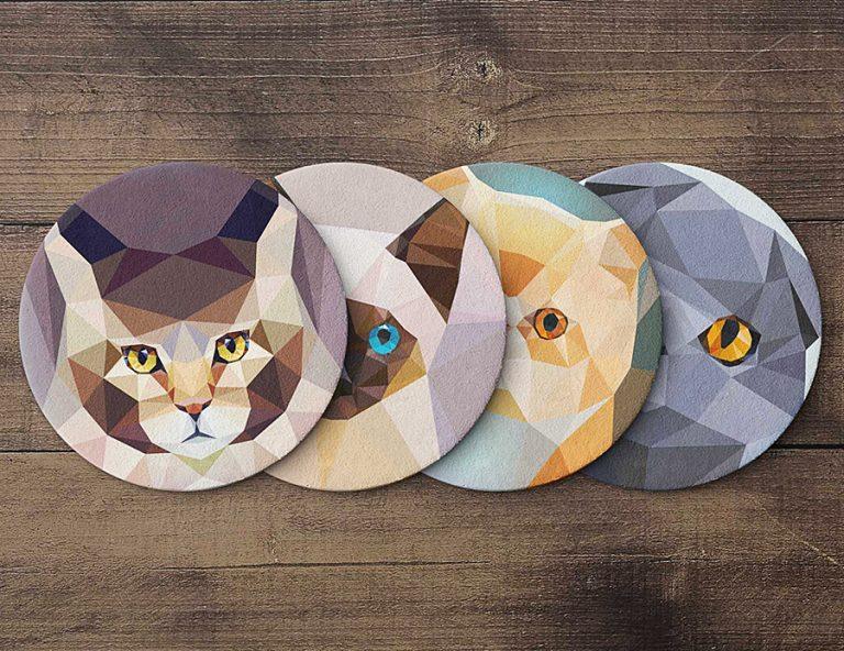 Teide Shop Polygonal Cats Coaster Set Made from High Quality Cork