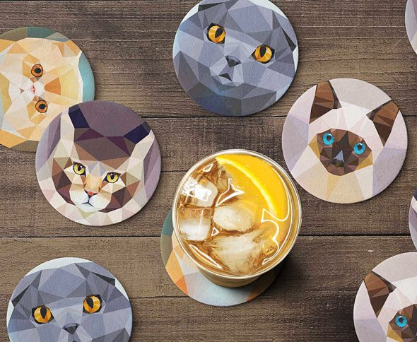 Teide Shop Polygonal Cats Coaster Set Novelty Item