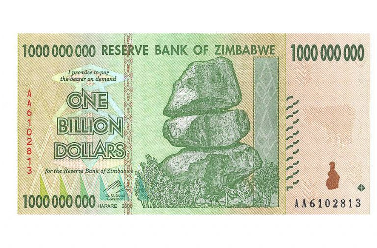 Zimbabwe 1 Billion Dollars Banknote
