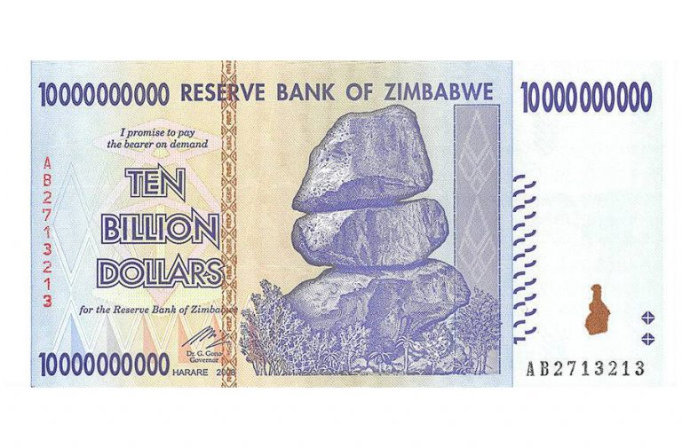 Zimbabwe 10 Billion Dollars Banknote