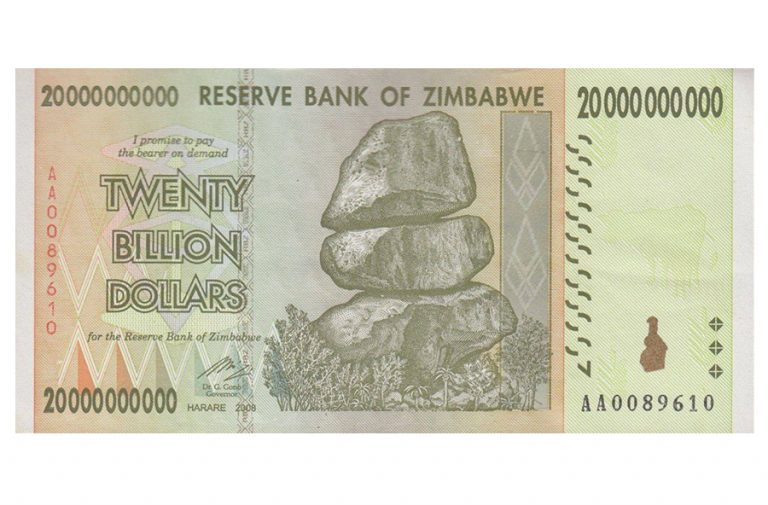 Zimbabwe 20 Billion Dollars Banknote