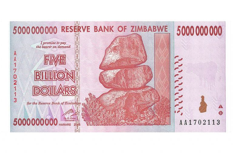 Zimbabwe 5 Billion Dollars Banknote