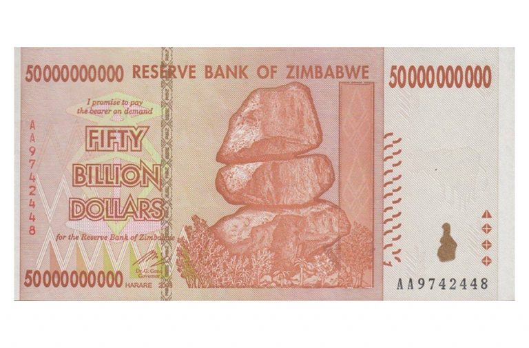 Zimbabwe 50 Billion Dollars Banknote