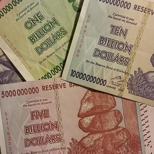 Collect Billions Billion Dollar Bills from Zimbabwe Worthless Cash