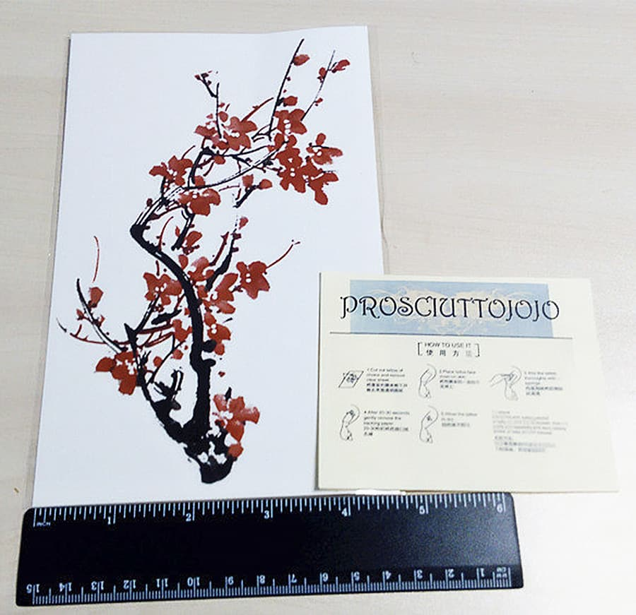 prosciuttojojo-red-plum-blossom-temporary-tattoo-body-art