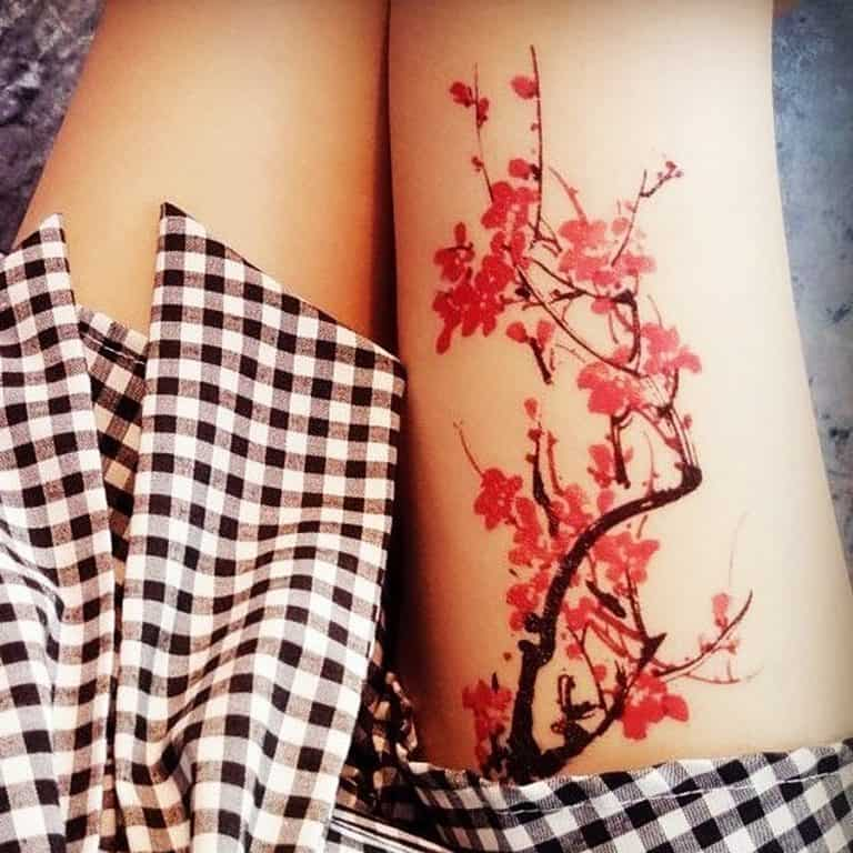 prosciuttojojo-red-plum-blossom-temporary-tattoo-hand-made-item