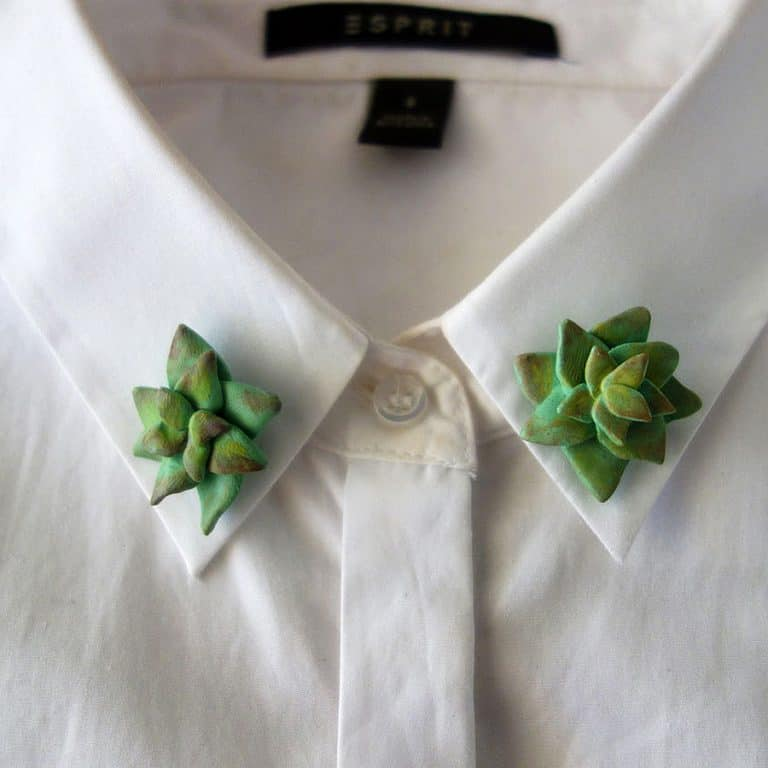 The Curious Cactus Succulent Collar Pins Garment Accessory