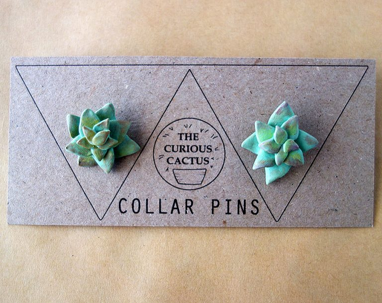 The Curious Cactus Succulent Collar Pins Hand Crafted Polymer Clay